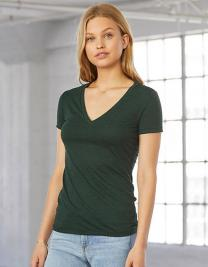 Women`s Triblend Deep V-Neck T-Shirt